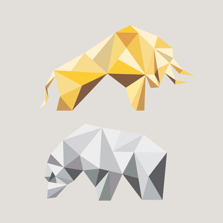 bear silhouette: Bull and bear in the geometric style. Symbols of stock market trends. Vector illustration.