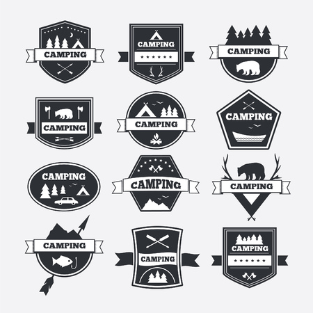 national parks: Set of vintage camping and outdoor activity. Vector types and badges. National parks and nature exploration symbols.