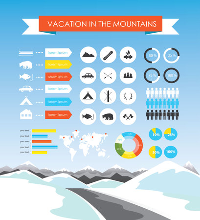 winter vacation: Vacation in the mountains infographics. Winter adventure. Camping and travel. Hiking tourism and outdoor vacation infographics set with charts vector illustration Illustration