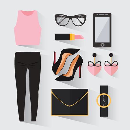 ropa casual: Mujer de la ropa moderna. ropa con estilo y de moda. mirada día casual. ropa empresaria iconos decorativos establecer plano. ilustración vectorial