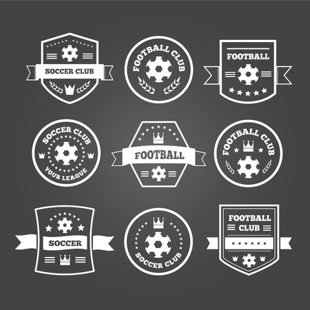 sport icon: Set of football or soccer emblems, labels and badges with ribbon banners, laurel wreaths, circular frame, crown and text