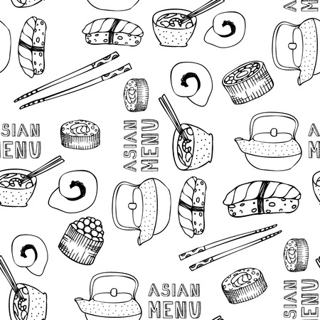 wrapper: Asian menu.Sushi restaurant. Asian restaurant menu. A wrapper for the food. Seamless background for wrapper, fabric, invitations.