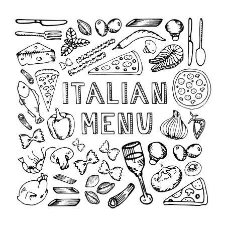 wine and food: Restaurant cafe italian menu. Illustration of vintage typographical element for italian menu on chalkboard. Sketch