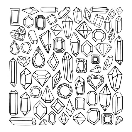diamond shape: Vector hand drawn modern set of crystals, precious stones, diamonds. Trendy hipster elements for labels, logos, badges design.