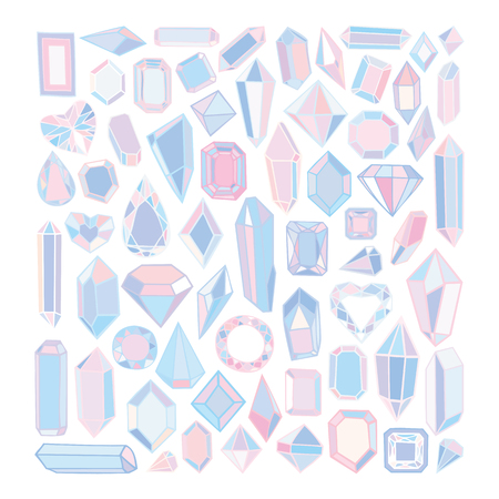 precious stones: Vector hand drawn modern set of crystals, precious stones, diamonds.