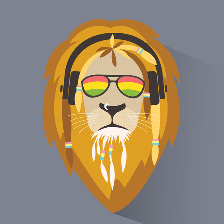 reggae: reggae Lion. rastafarian Lion. Illustration