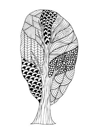 Diseño Adultos Libro De Colorear Con La Imagen Del árbol De La ...
