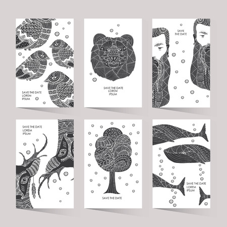 ethno: Cards with a trendy hipster print. Set creative cards. Hipster style for invitation, business contemporary design. Illustration in the style of ethno, tribal, aztec, boho. Illustration