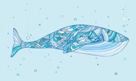 ethno: Whale mascot. Illustration in ethnic, tribal, boho style. Boho print. Trendy hipster print Illustration