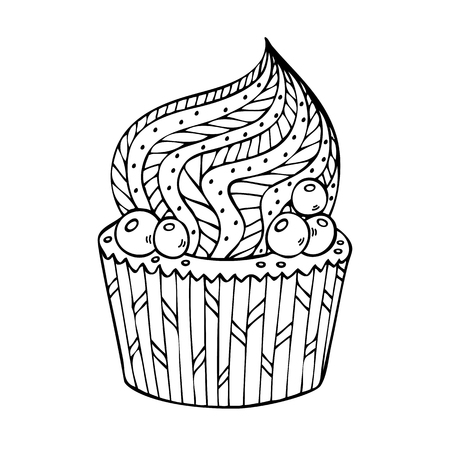 Cupcake coloring for adults. Coloring book page for adult. Vector illustration in the style of zentangle, doodle, ethnic, tribal design.