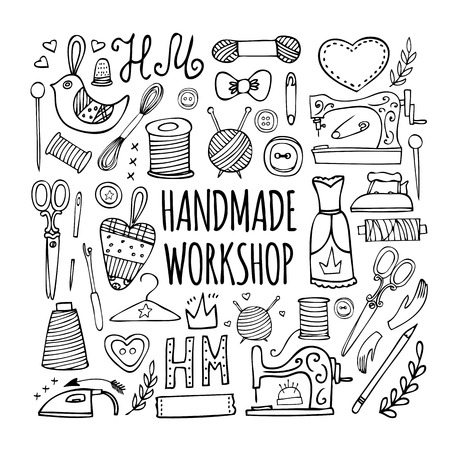 sew: The hand drawn elements to create a logo handmade workshop. Vintage label. Retro symbols for local sewing shop, knit club, handmade artist or knitwear company. Vector illustration