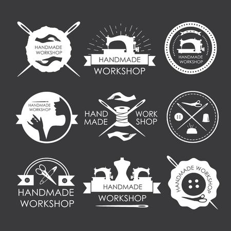 Handmade workshop logo vintage vector set. Set of vintage tailor labels, emblems and designed elements Illustration