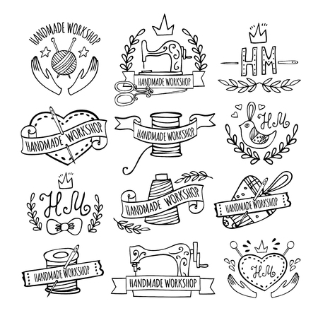 Set of hand drawn logos for sewing workshop. Handmade workshop logo vintage vector set.
