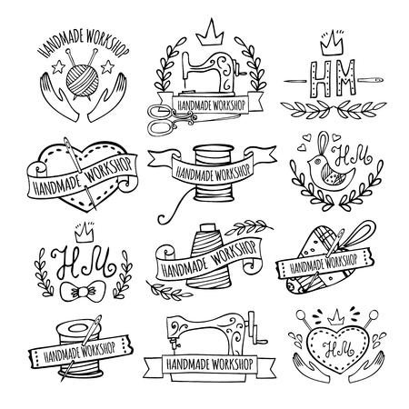 Set of hand drawn logos for sewing workshop. Handmade workshop logo vintage vector set. Illustration