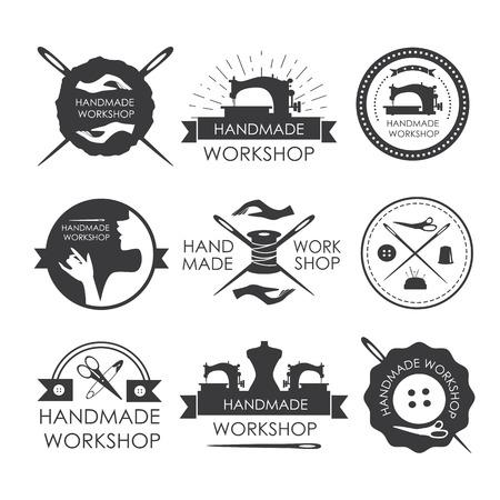 Handgemachte Werkstatt Logo Jahrgang Vektor-Set. Set Vintage Schneider Etiketten, Embleme und Designelemente,