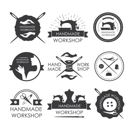 Handmade workshop logo vintage vector set. Set of vintage tailor labels, emblems and designed elements Illustration