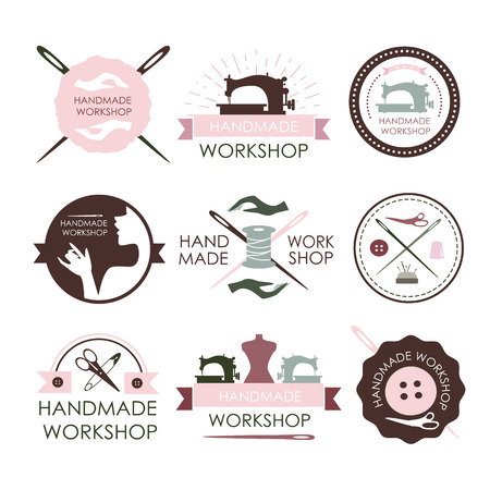 sew: Handmade workshop logo vintage vector set. Set of vintage tailor labels, emblems and designed elements Illustration
