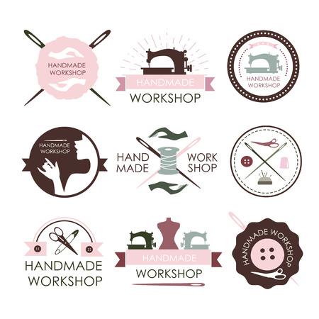 coser: logo taller hecho a mano conjunto de vectores de la vendimia. Conjunto de etiquetas personalizadas vintage, emblemas y elementos diseñados