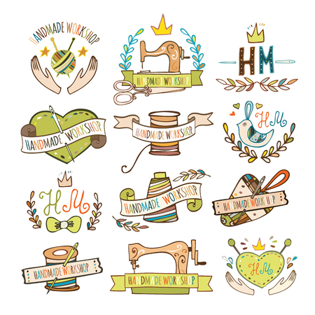 sew: Set of hand drawn logos for sewing workshop, handmade workshop, shop for crafts, products for sewing, tailor shop. Handmade workshop logo vintage vector set.