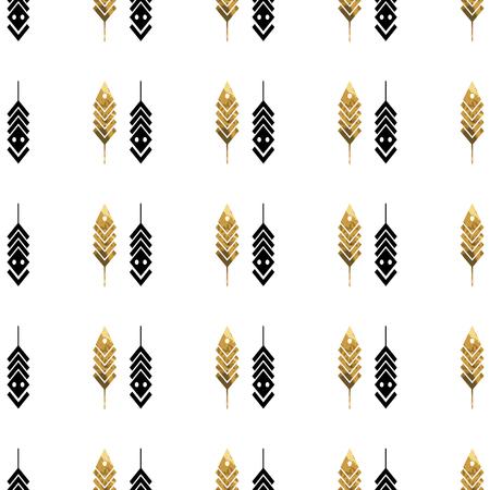 Modello senza cuciture con piume d'oro. Piume tribali su sfondo bianco. Piume modello senza cuciture azteco. Ornamento etnico Illustrazione vettoriale