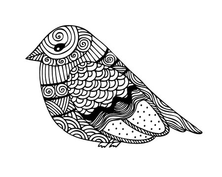 Adult coloring book page design with fantastic bird. Coloring book page for adult. Vector illustration in the style of  zentangle, doodle, ethnic, tribal design. Ilustração