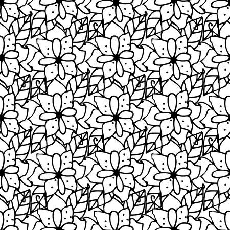 date book: Adult coloring book page design with floral seamless pattern. Floral pattern. Monochrome background for web pages, wedding invitations, save the date cards. Vector illustration