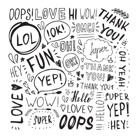 slang: Hand drawn set with short phrases on white background.Set of hand written lettering words. Handwritten short phrases.