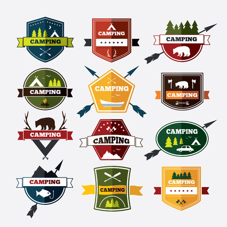 exploration: Set of vintage camping and outdoor activity . Vector  and badges. National parks and nature exploration symbols