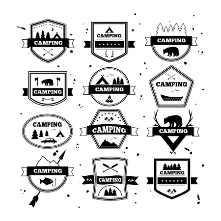 national parks: Set of vintage camping and outdoor activity . Vector  and badges. National parks and nature exploration symbols.