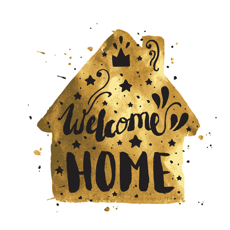 Welcome home modern lettering poster. Hand lettering and custom typography for your designs.