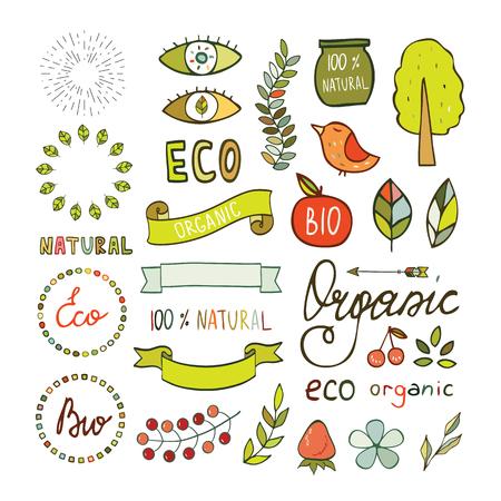 logotypes: Modern hand drawn elements design organic, bio, natural logotypes. Hand drawn design elements, signs, Vector illustration Illustration