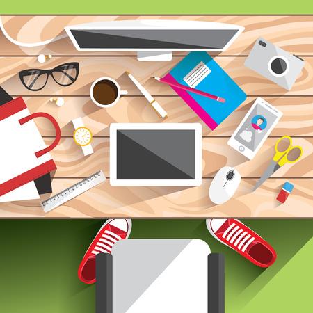 pencils  clutter: Realistic workplace organization. Workplace concept. Flat design. Desktop vector illustration. Back to school.
