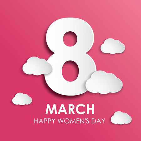 8 March happy womens day greeting card in paper style Illustration