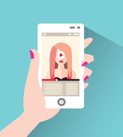 Fashionable young woman on the screen of the smartphone. Vector illustration in flat style Illustration