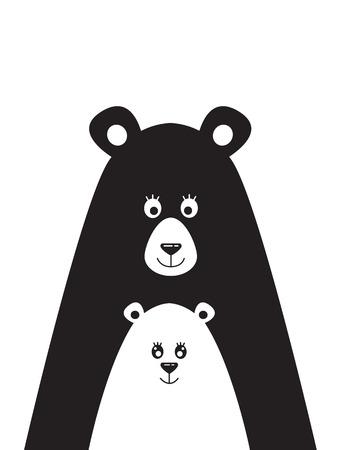 곰 및 작은 곰의 그림 포스터 일러스트