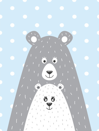 bear s: A children s poster with a picture of a bear and the little bear in a Scandinavian style. Vector illustration in a flat style.
