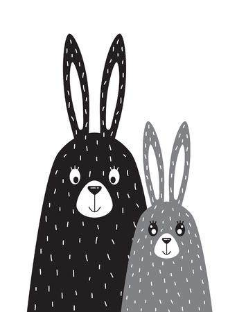 Familie von Kaninchen im skandinavischen Stil Standard-Bild - 83715353