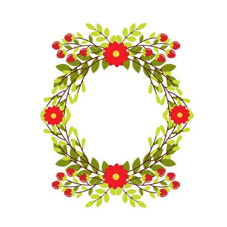 Cute wedding wreath with flowers and branches. Vector illustration