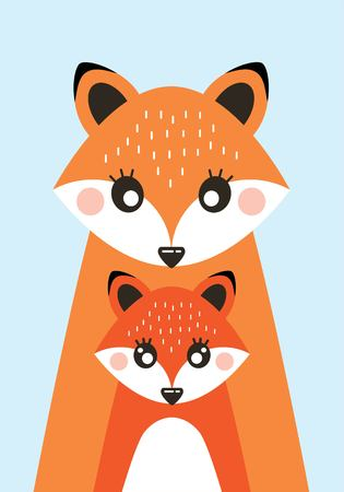 Children poster in Scandinavian style with the image of foxes and fox. Vector illustration Illustration