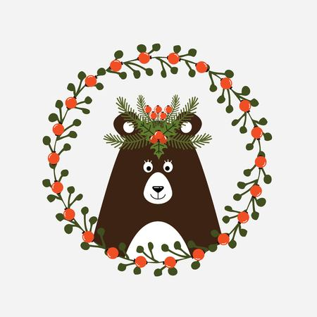 Cute Christmas card with a picture of a bear. Vector illustration