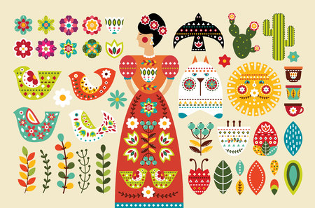 Set Mexican folk elements in flat design. Vector illustration.