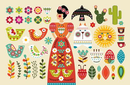 Set Mexican folk elements in flat design. Vector illustration.