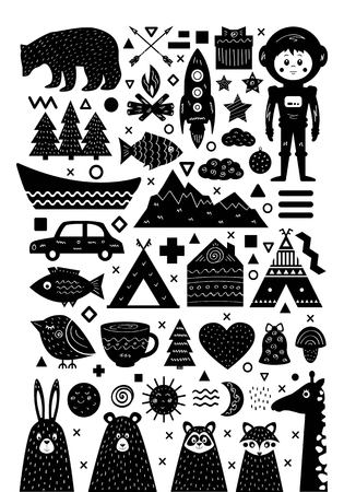 Monochrome set of elements in Scandinavian style for modern posters and prints. Vector illustration. Illustration