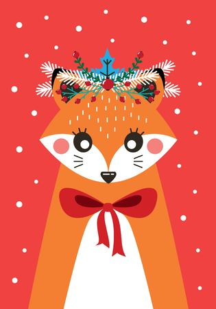 Cute Christmas card with a picture of a Fox in a Scandinavian style.