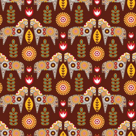 Folk seamless pattern in scandinavian style. Vector illustration