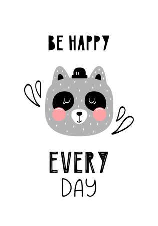 Lettering quote be happy every day in scandinavian style