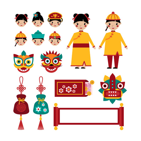 Chinese new year traditional folk holiday set of elements. Vector illustration