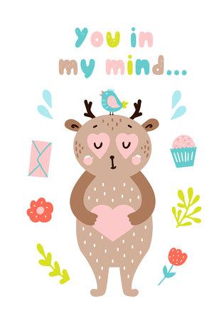 Cute happy animal card. Happy Valentine's day postcard. Vector illustration Vetores