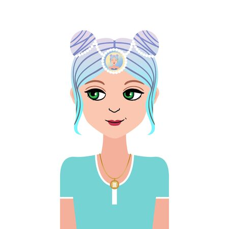 Zodiac young beautiful girl illustration in doodle style