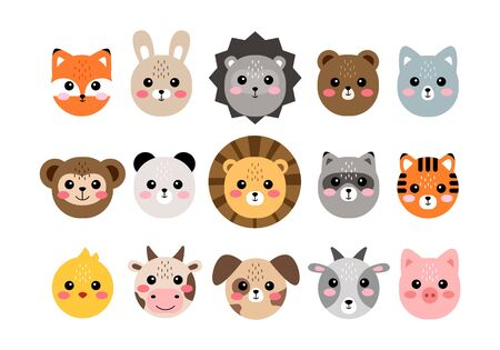 Cute animal faces. Hand drawn characters vector illustration